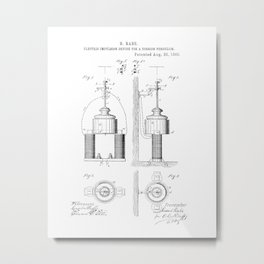 Electric Impulsion Device for a Torsion Pendulum Vintage Patent Hand Drawing Metal Print
