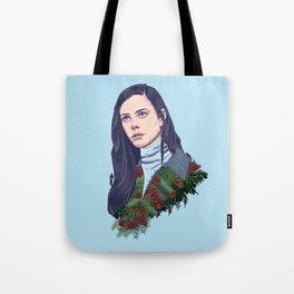 winter girl between pine cones and needles Tote Bag