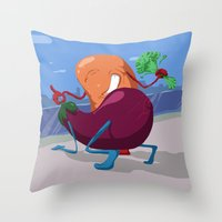erotic Throw Pillows featuring Erotic Eggplant by Rui Rodrigues