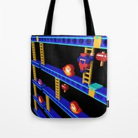 donkey kong Tote Bags featuring Inside Donkey Kong stage 4 by Metin Seven