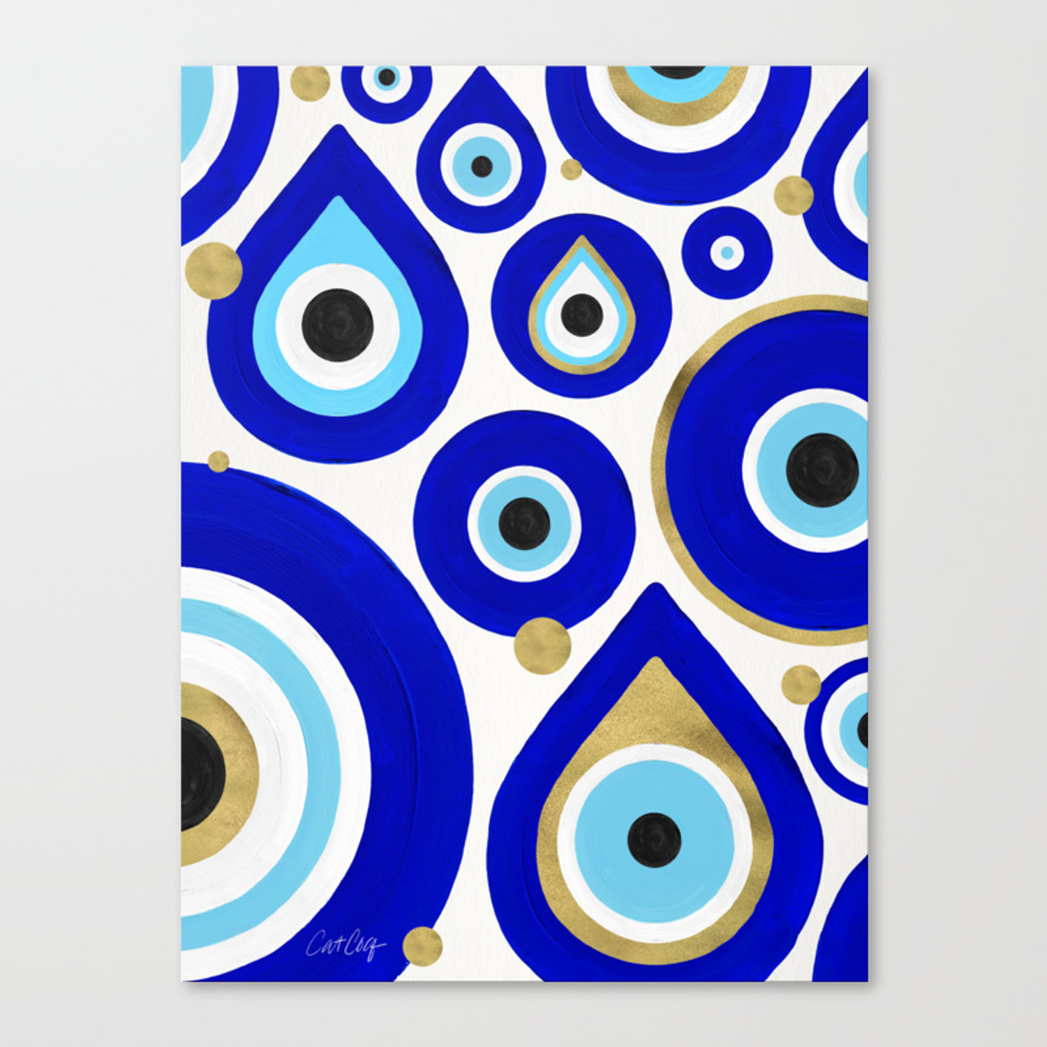 Evil Eye Charms On White Canvas Print By Catcoq Society6