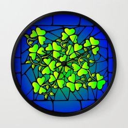 Stained Glass Shamrocks Wall Clock