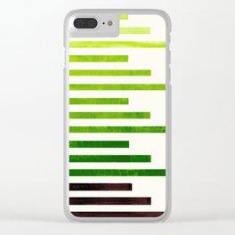 Sap Green Watercolor Geometric Minimalist Stripe Pattern Zen Art Clear iPhone Case