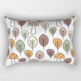 cute fall autumn colorful seamless pattern background with mushrooms and leaves Rectangular Pillow
