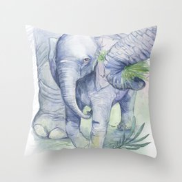 illustration of baby elephant Throw Pillow