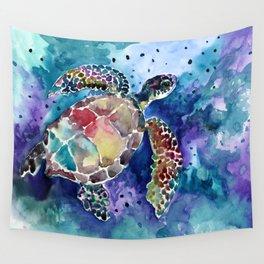 Sea Turtle underwater, beach deep blue barine blue turtle beach style design Wall Tapestry