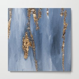 Blue Paint Brushstrokes Gold Foil Abstract Texture Metal Print
