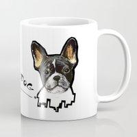 french bulldog Mugs featuring French Bulldog by Det Tidkun