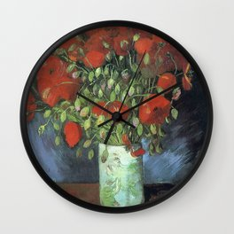 Vincent Van Gogh - Vase with Red Poppies, 1886 Wall Clock