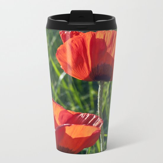 Red Poppies on the summer meadow Metal Travel Mug