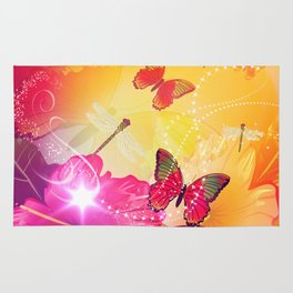 Awesome colorful flowers and butterfly Rug