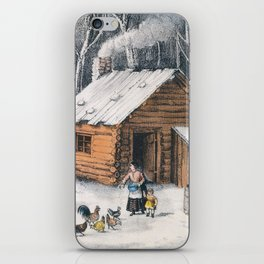 Vintage Home in The Wilderness Painting (1870) iPhone Skin