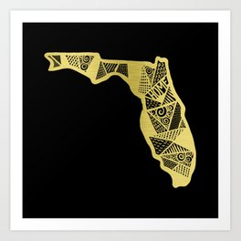 Home in Florida Gold Art Print