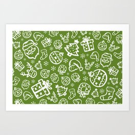 XMAS Green Pattern / Part One Art Print