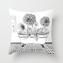 Dahlia Bath Throw Pillow