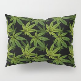 Cannabis Leaf - Black Pillow Sham