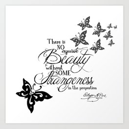 'Strange Skullerflies' -  Quotes - Edgar Allan Poe Art Print