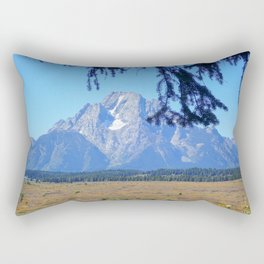 Teton Mountain with Tree Rectangular Pillow