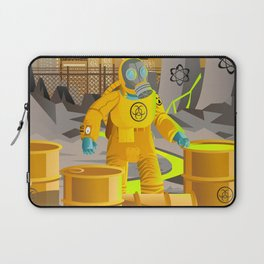 biohazard suit man with barrels near nuclear meltdown in powerplant Laptop Sleeve
