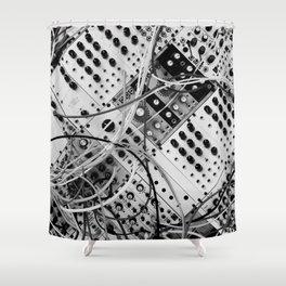 analog synthesizer  - diagonal black and white illustration Shower Curtain