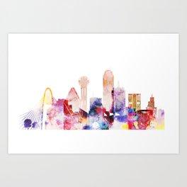Watercolor Dallas skyline design Art Print