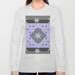 DECORATIVE GREY SNOW CRYSTALS  WINTER ART Long Sleeve T-shirt