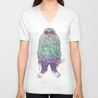 bigfoot V-neck T-shirts featuring BigFoot by Paz Art