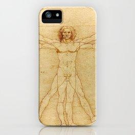 Le proporzioni del corpo umano secondo Vitruvio, Leonardo da Vinci, 1490 iPhone Case