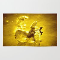 nebula Area & Throw Rugs featuring Yellow neBUla  by 2sweet4words Designs