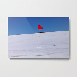 Red flag on Stromness golf course on a snowy April day. Metal Print