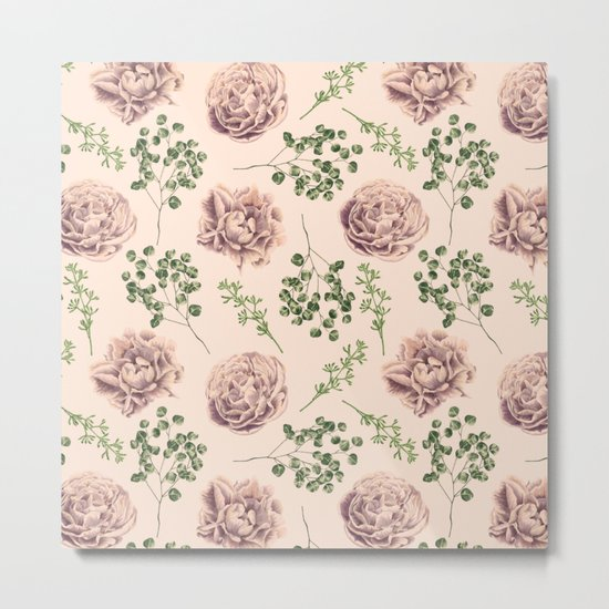 Rose Pattern Light Pink + Green Metal Print