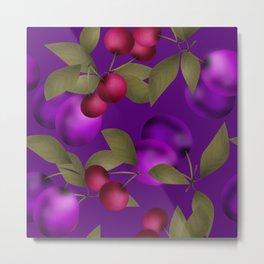 Fruit market . Plum and cherry . Metal Print
