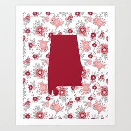Alabama state silhouette university of alabama crimson tide floral college football gifts Art Print