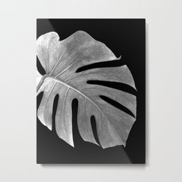 Black and White Monstera Leaf Metal Print