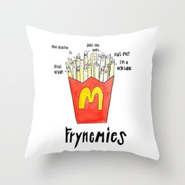 Frynemies, Frenemy, French Fries, Food Art, Funny Art, Illustration, Watercolor, Handlettering. Throw Pillow