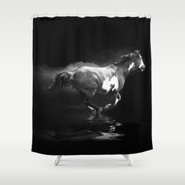 Galloping Pinto Horse Shower Curtain