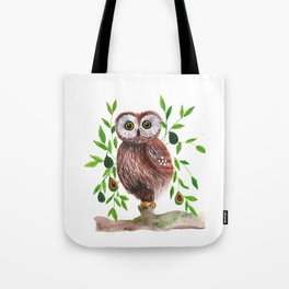 Owl with avocado illustration Tote Bag