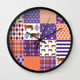 University clemson orange and purple quilt pattern tiger pattern gifts college sports football Wall Clock