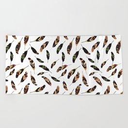 Feathers seamless pattern, vector illustration Beach Towel