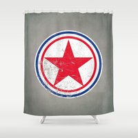korea Shower Curtains featuring North Korea cocarde by Nxolab