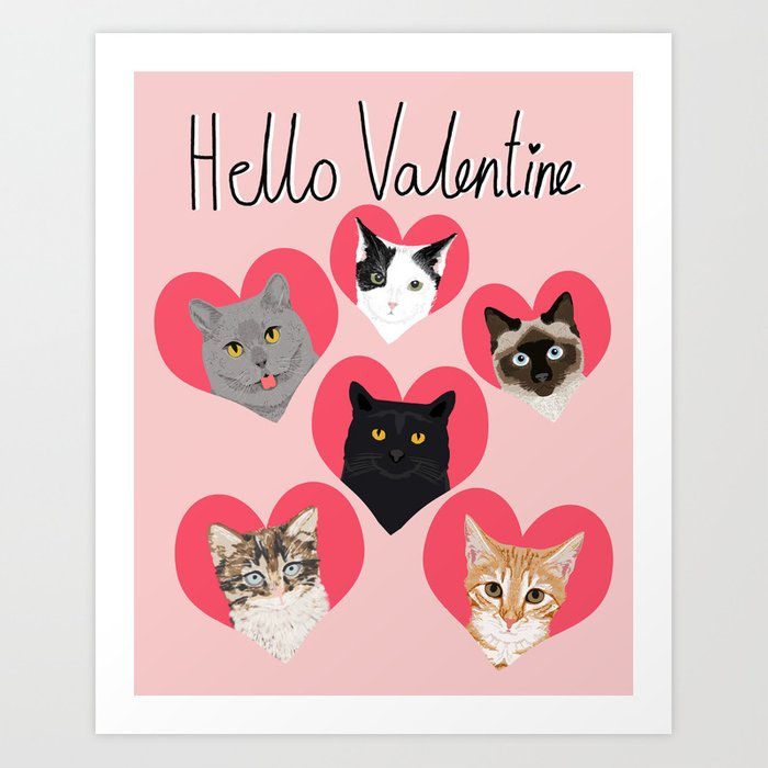 Cute cat collection hearts love valentines day gift for cat lady ...