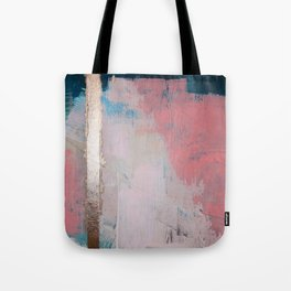 Morning Light: a minimal abstract mixed-media piece in pink gold and blue by Alyssa Hamilton Art Tote Bag