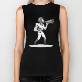 American Football With Bullhorn Grayscale Biker Tank