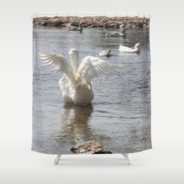 White Duck Flapping Wings on Water Shower Curtain