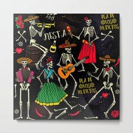 Skeleton Fiesta , Day Of The Dead, Skulls Metal Print