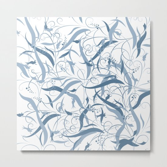 Elegant Blue Floral Leaf Scroll Pattern Metal Print