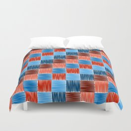 background squares blue red embroidery Duvet Cover
