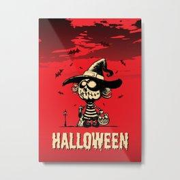 Halloween pumpkin girl Metal Print