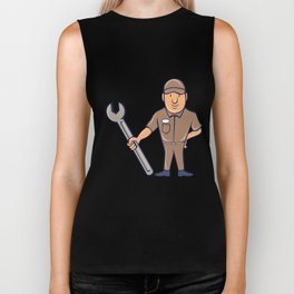Plumber Standing Attention Wrench Cartoon Biker Tank