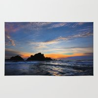 big sur Area & Throw Rugs featuring Big Sur sunset  by davehare
